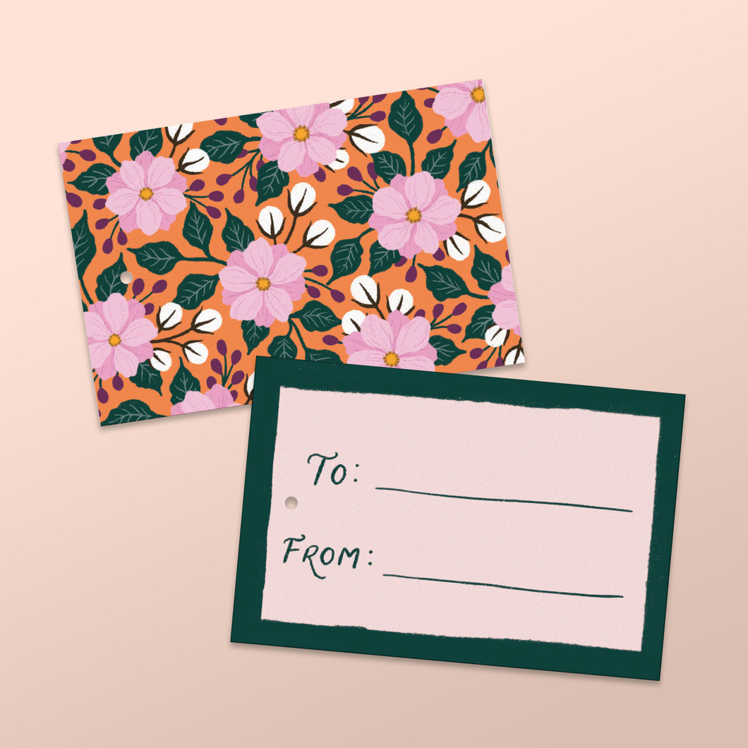 coral gift tags with hand painted floral illustrations. made in nz