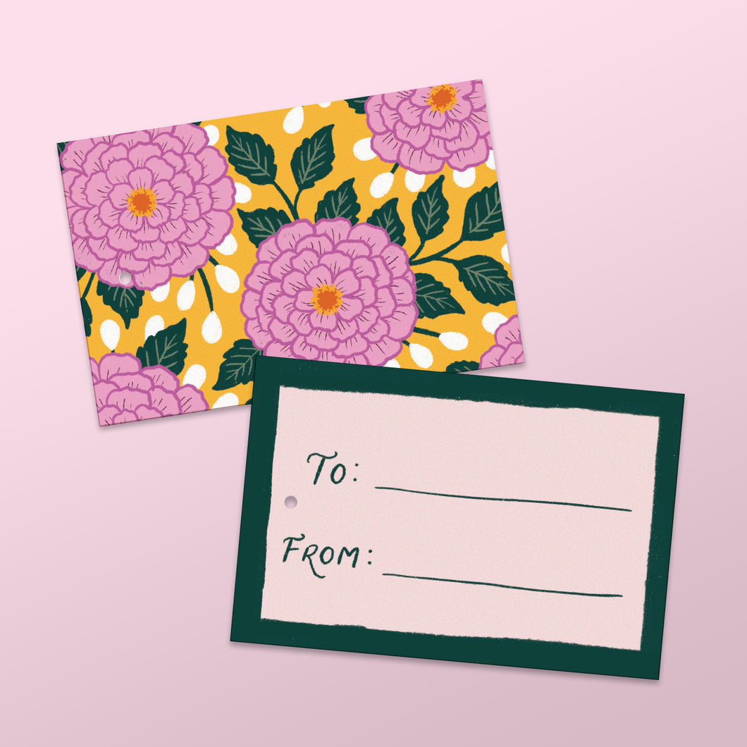 yellow gift tags with floral illustrations, made in nz