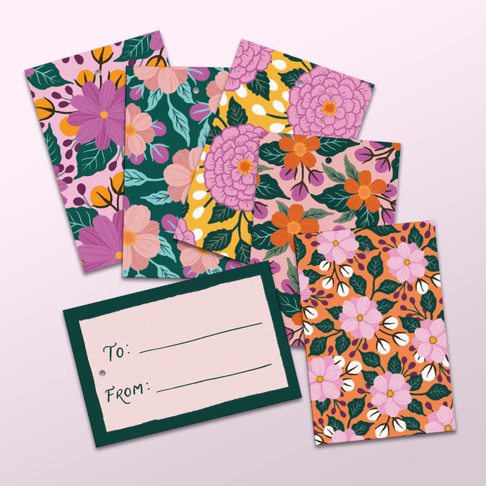 various floral design gift tags made in nz