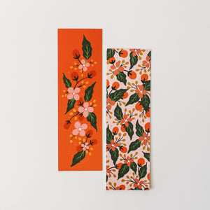 floral bookmarks blush and coral - paper goods made in new zealand