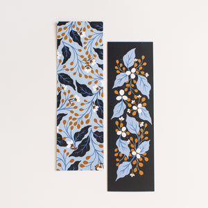 floral bookmarks navy and blue - paper goods made in new zealand