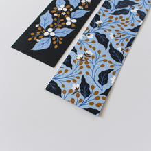 Load image into Gallery viewer, navy floral double sided bookmarks - paper goods made in new zealand