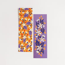 Load image into Gallery viewer, violet and yellow floral double sided bookmarks - paper goods made in new zealand