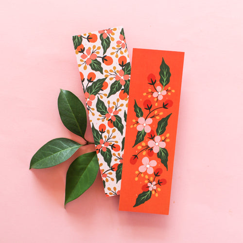 Coral & Blush Floral Bookmark