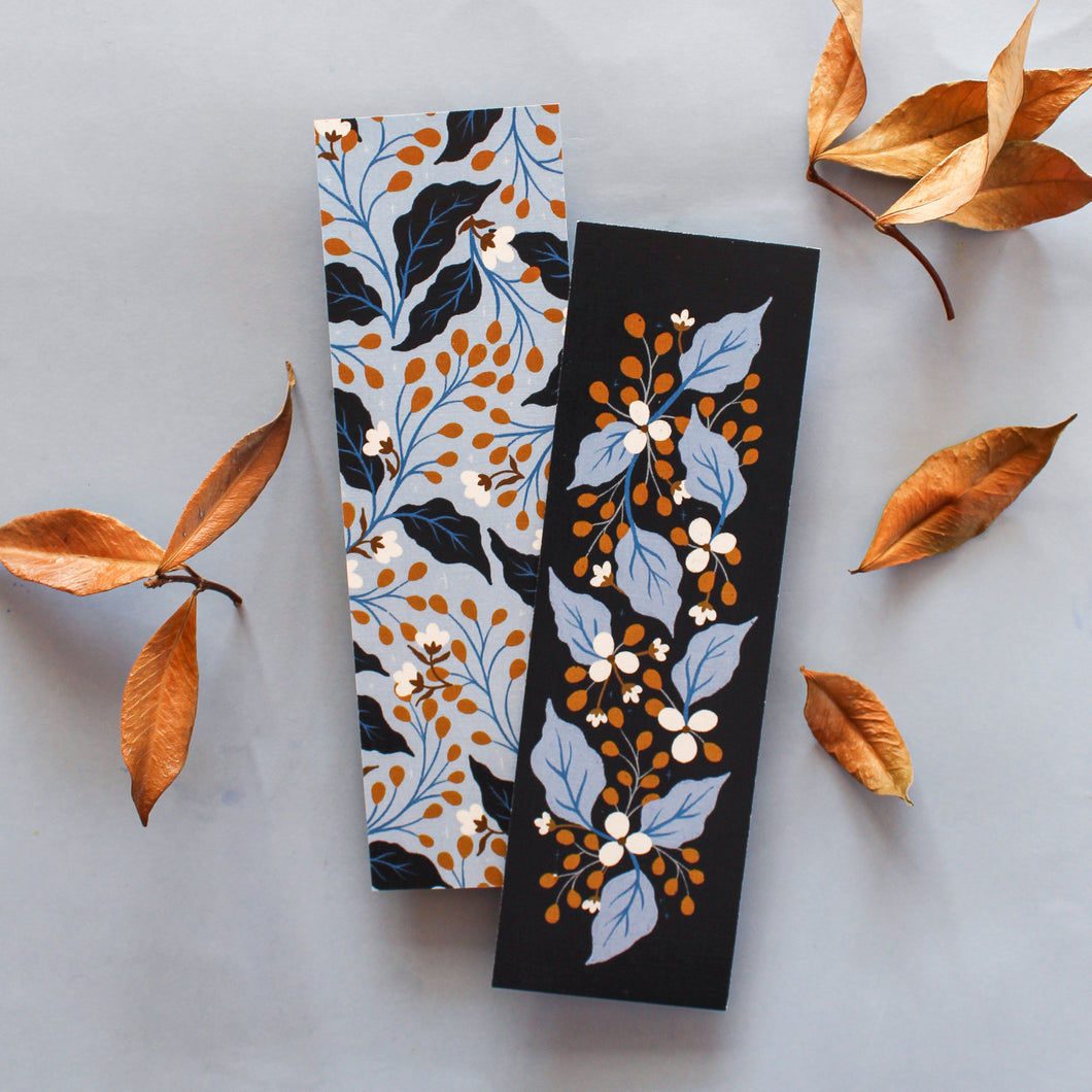 navy floral double sided bookmarks - paper goods made in new zealand