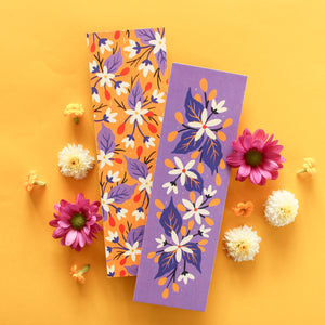 violet and yellow floral double sided bookmarks - paper goods made in new zealand