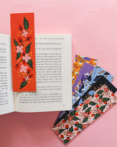 floral bookmarks colourful set of 3 - paper goods made in new zealand