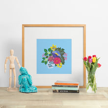 Load image into Gallery viewer, january florals. colourful bouquet of hand painted flowers on a background of vibrant blue. paper goods made in nz