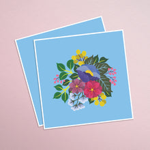 Load image into Gallery viewer, hand painted colorful floral square print on a vibrant blue background.