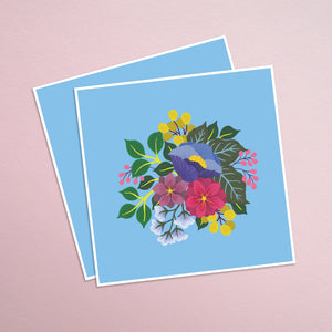 hand painted colorful floral square print on a vibrant blue background.