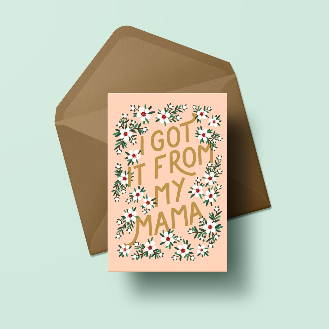 mothers day greeting card with text and illustrations of manuka blossom flowers