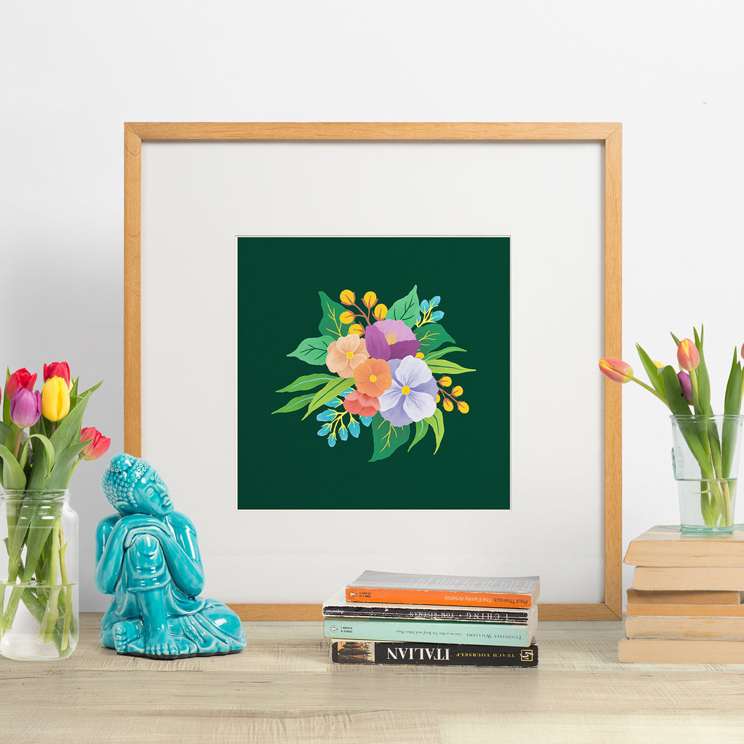 march florals. colourful bouquet of hand painted flowers on a background of deep green. paper goods made in nz