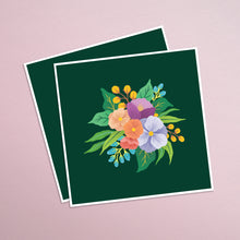 Load image into Gallery viewer, march florals. colourful bouquet of hand painted flowers on a background of deep green. paper goods made in nz