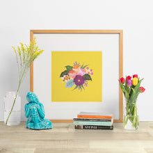 Load image into Gallery viewer, colourful bouquet of hand painted flowers art print made in new zealand