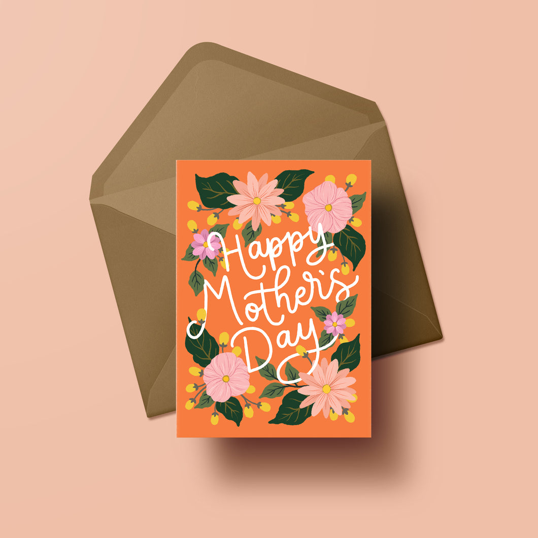 happy mothers day card with hand painted flowers on a background of coral orange