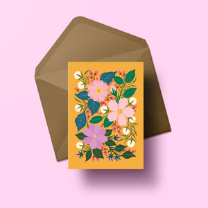 colourful bouquet of hand painted flowers greeting card made in new zealand