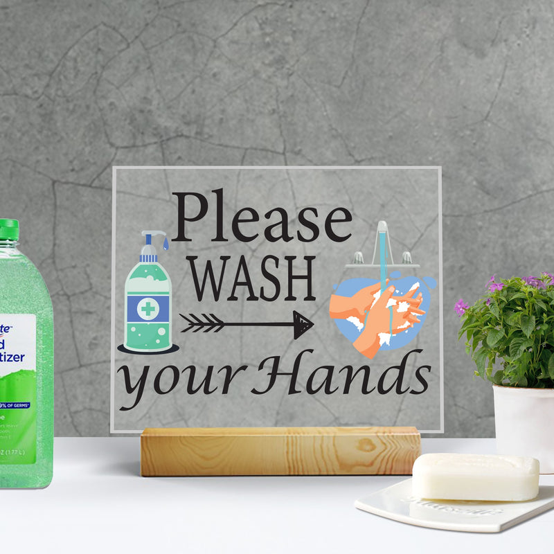 Bathroom Wash Your Hands Sign on Acrylic - Miracle Prints