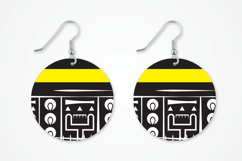 Yellow and Black Dangle Earrings For Women - Miracle Prints