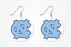 UNC chapel Hill round earrings, UNC Capel Hill earrings, Tarheels earrings
