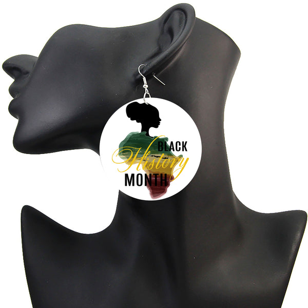 Black History Celebration Earrings, African Earrings, Africa Map Earrings