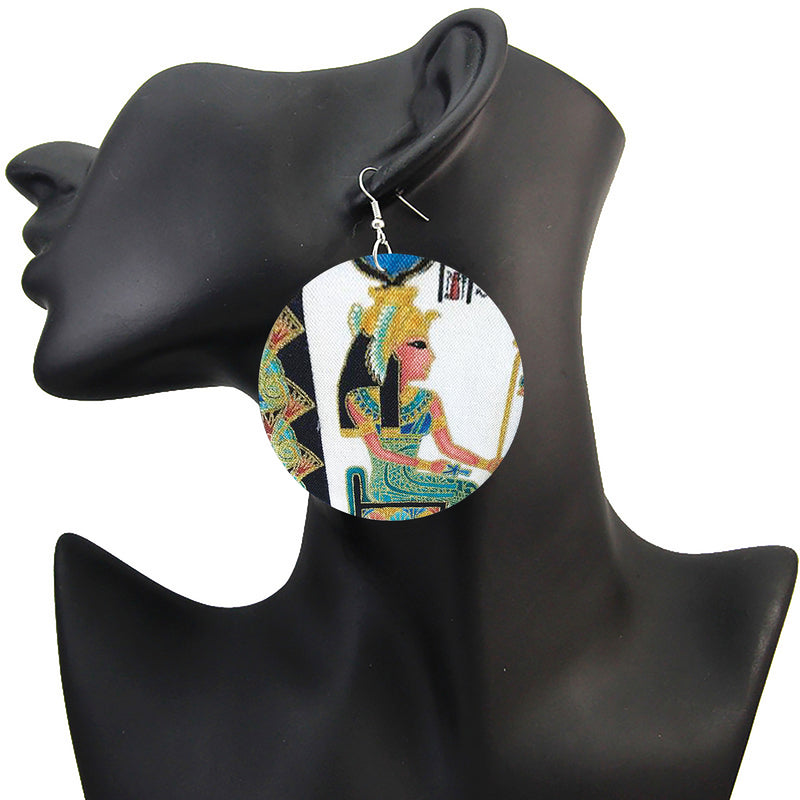Egyptian Queen Printed Earrings, Earrings with Egyptian queen Large