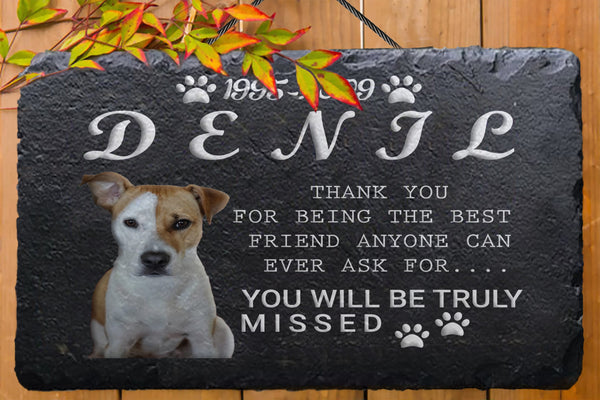 Dog Memorial plaque on a slate - Miracle Prints