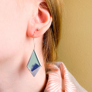 Diamond Cutouts - Repurposed tin and stainless steel earrings