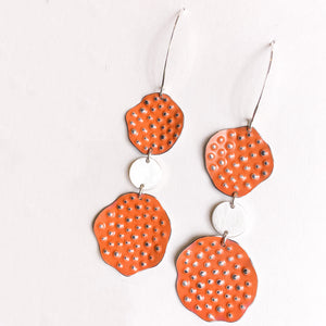 Orange Crush colored repurposed tin earrings