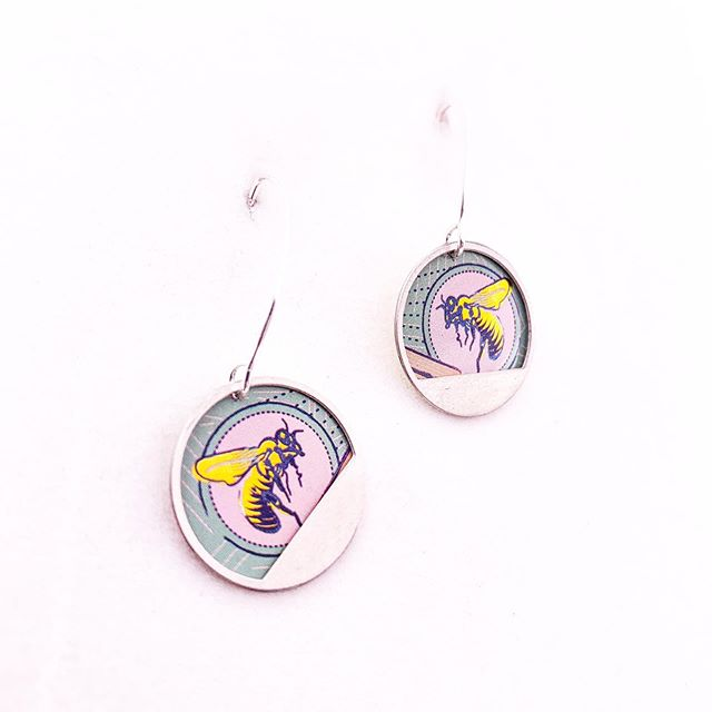 Busy as a bee -  Repurposed Tin and Stainless Steel Earrings