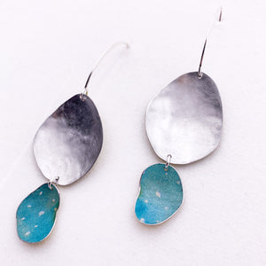 Ocean Drops - Textured repurposed tin and sterling silver earrings