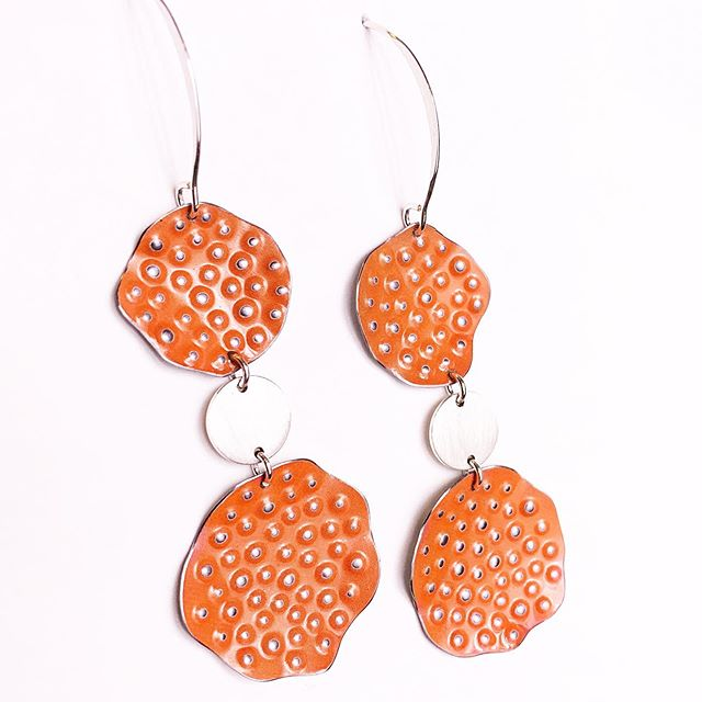 Orange Crush Inspired -  Repurposed Tin and Sterling Silver Earrings