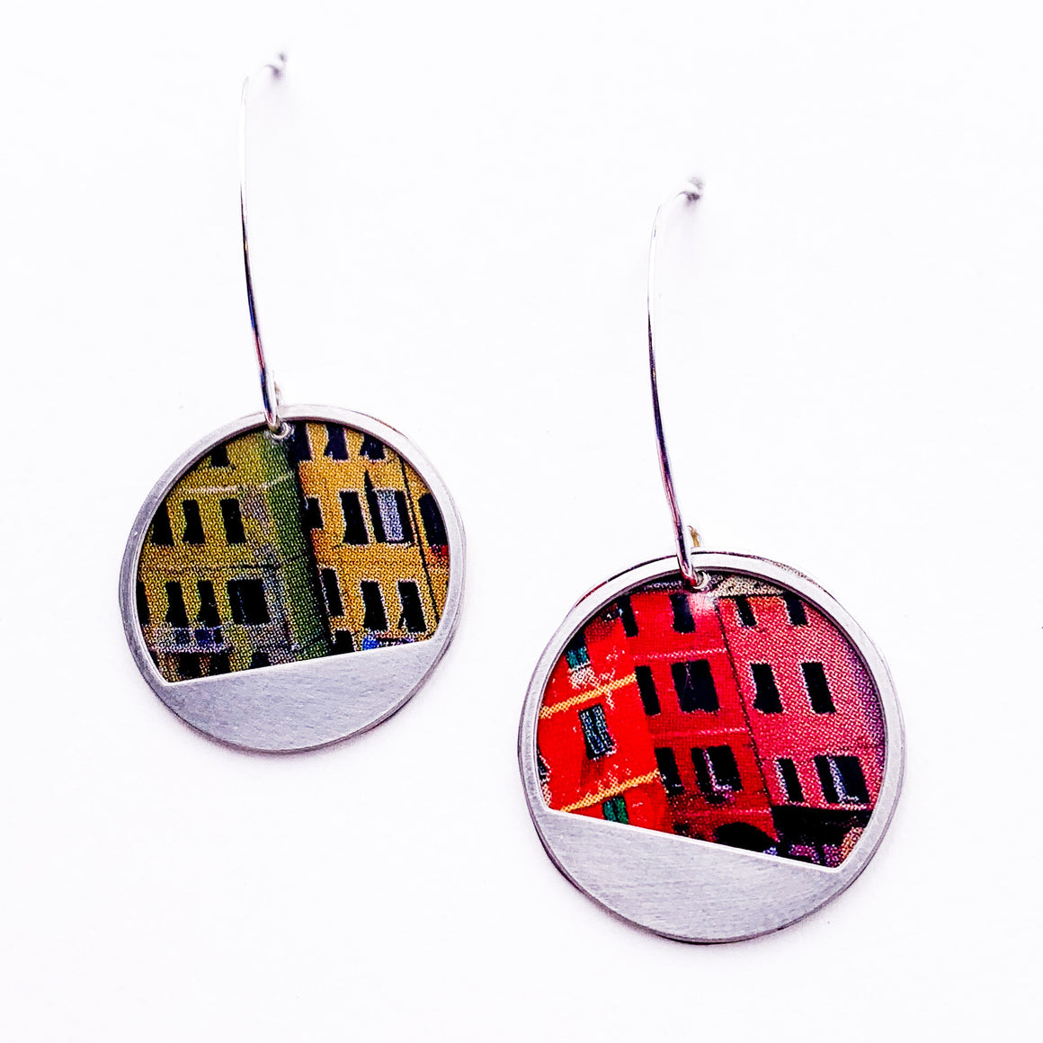 Colorful City -  Repurposed Tin and Stainless Steel Earrings