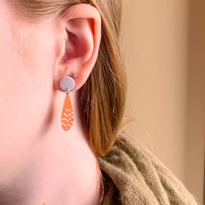 Orange Drops - Textured repurposed tin and sterling silver earrings
