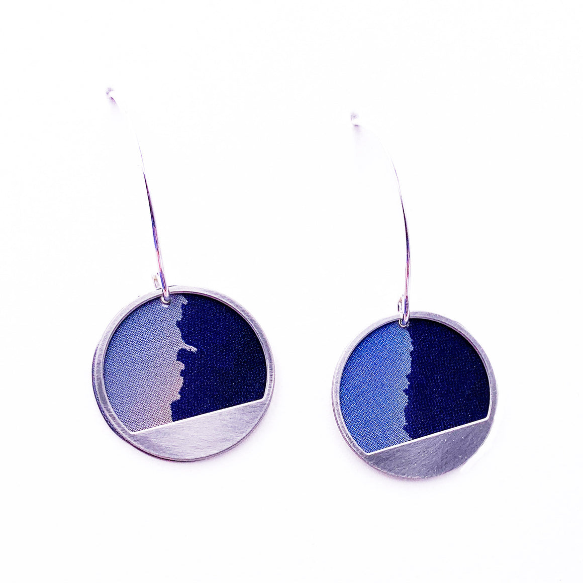 Blue Ridgeline -  Repurposed Tin and Stainless Steel Earrings