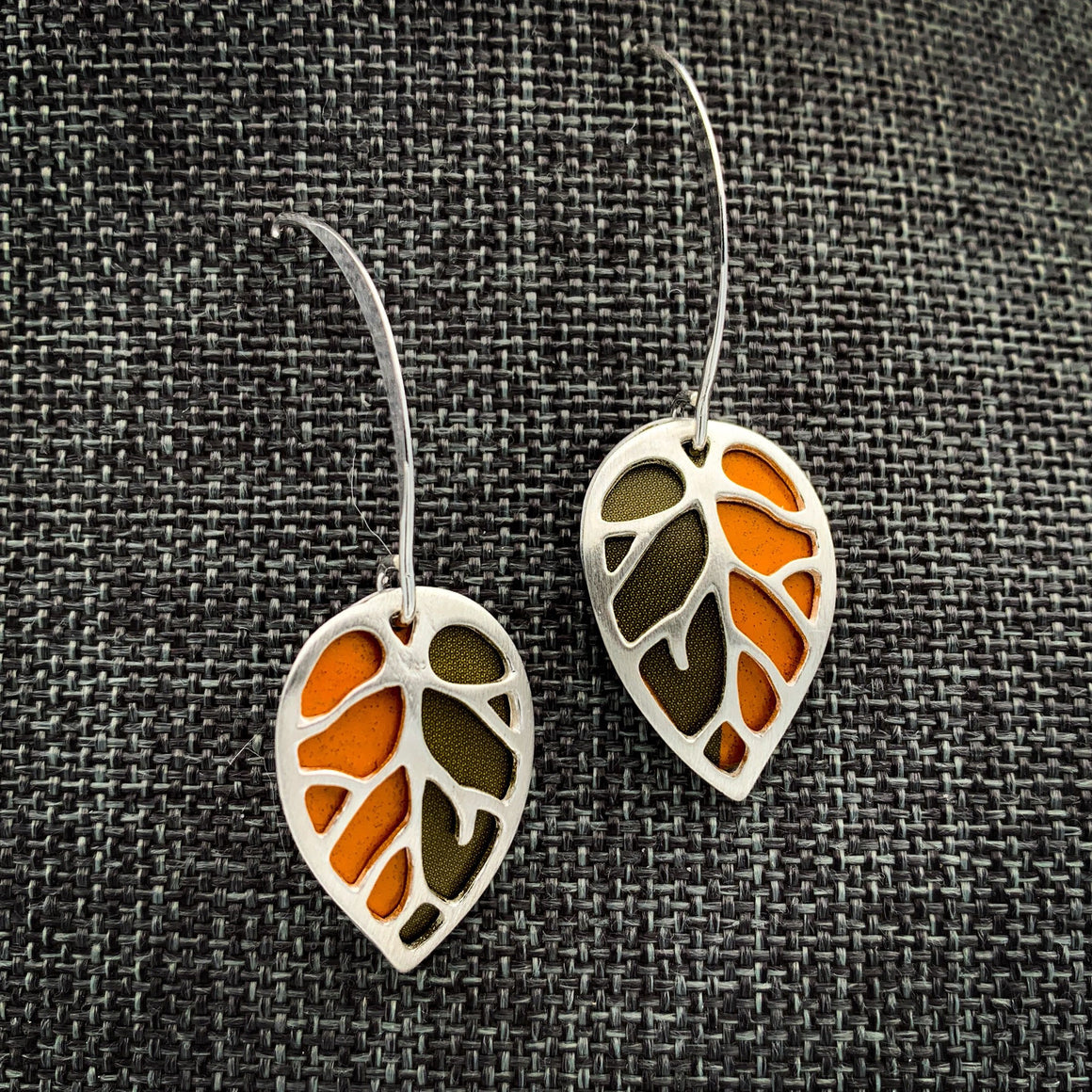 Recycled tin and sterling silver leaf earrings