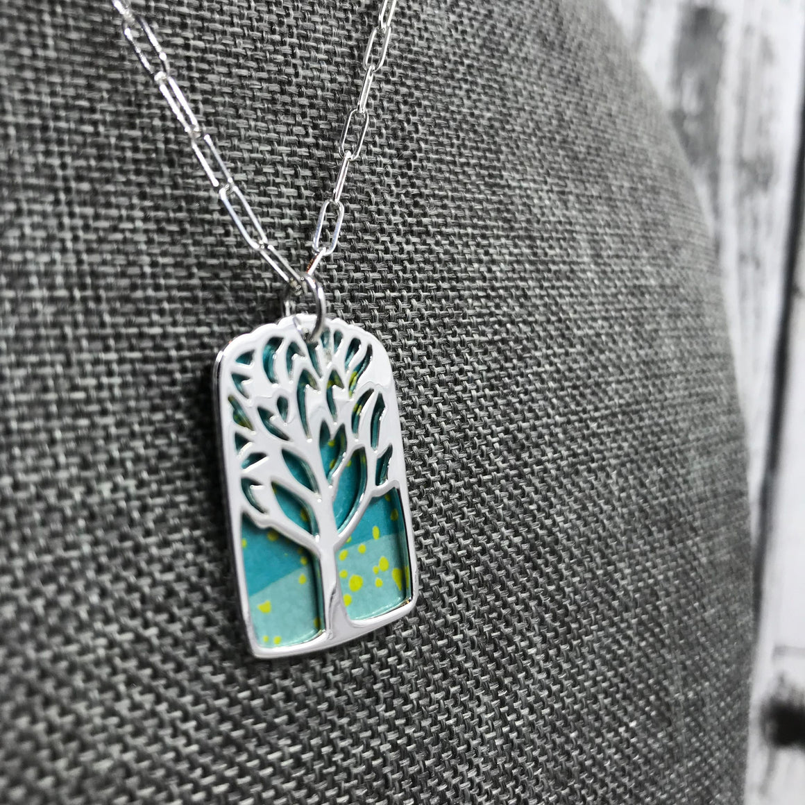 Sterling Silver and Recycled Tin Tree Pendant Necklace