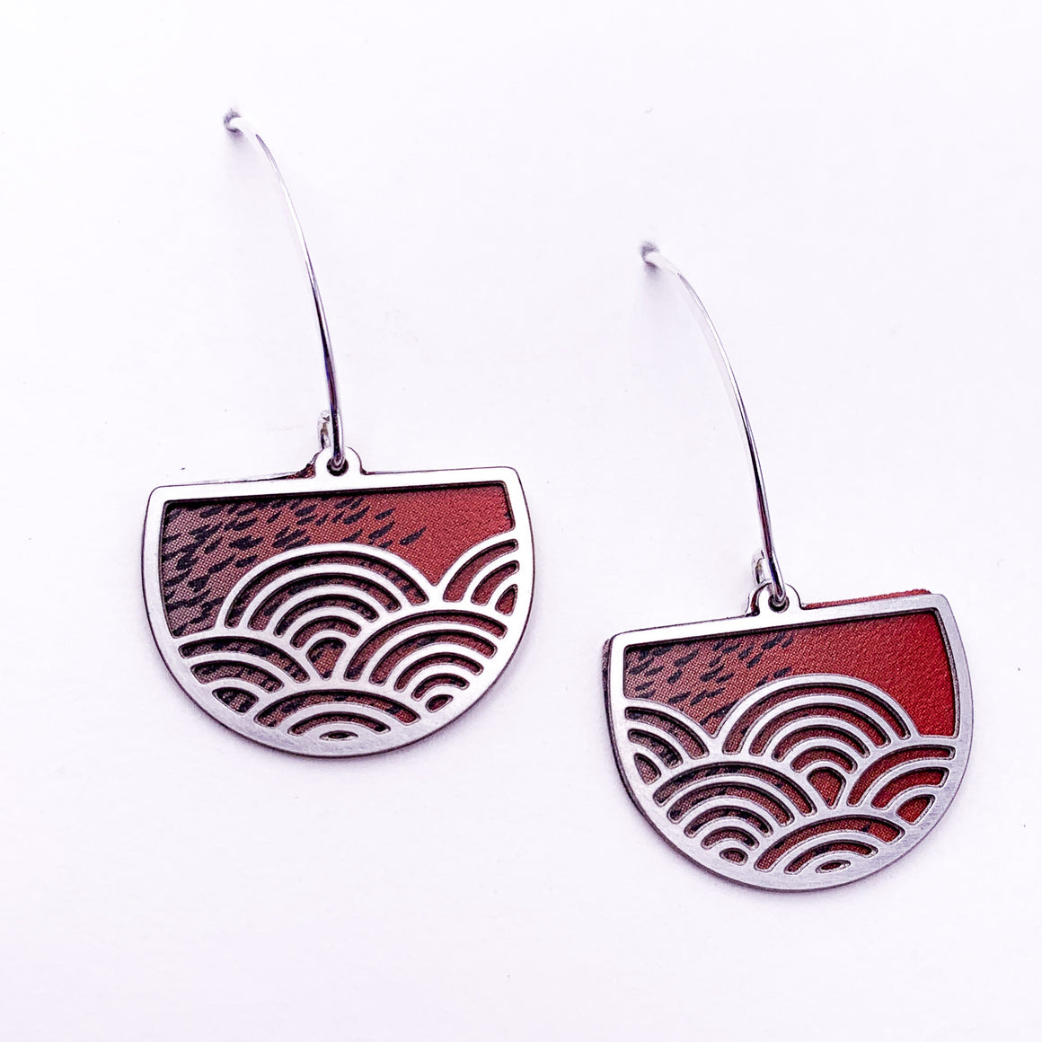 Red Wave Earrings