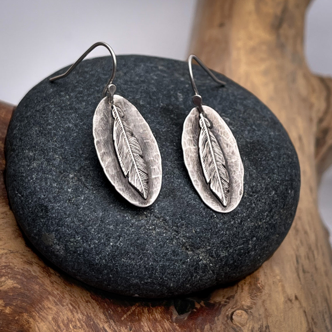 Rustic Silver Feather Earrings