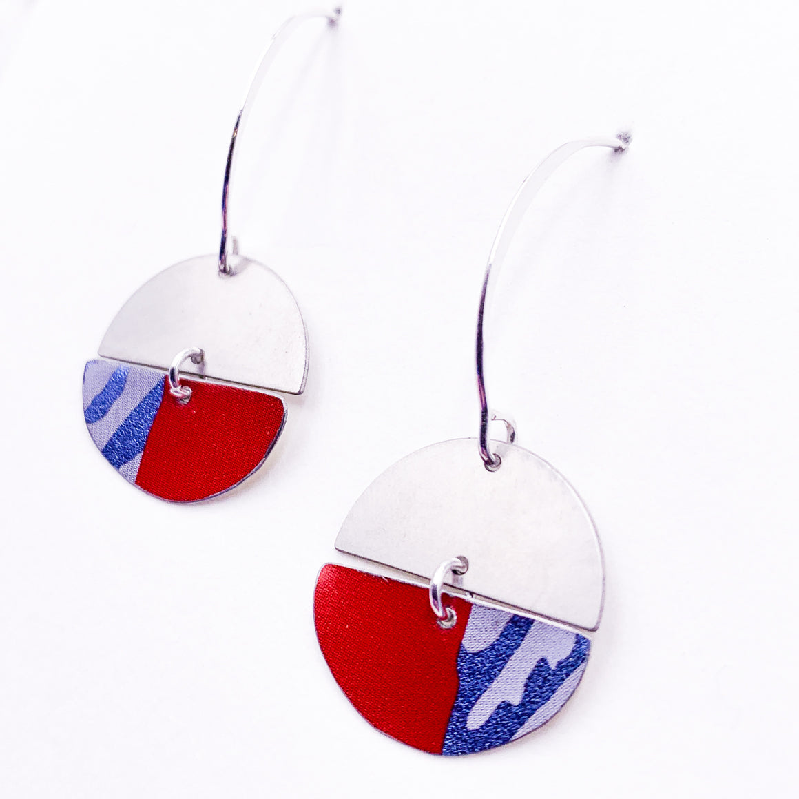 Half and Half  -  Repurposed Tin and Stainless Steel Earrings