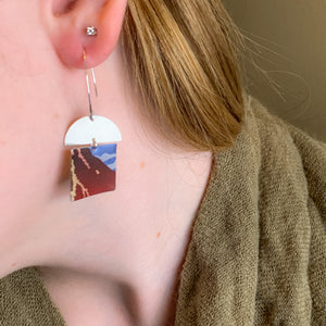Hot Lava -  Repurposed Tin and Sterling Silver Earrings