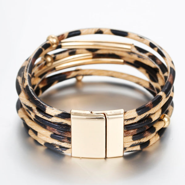 Leopard Leather Multilayered Bracelet