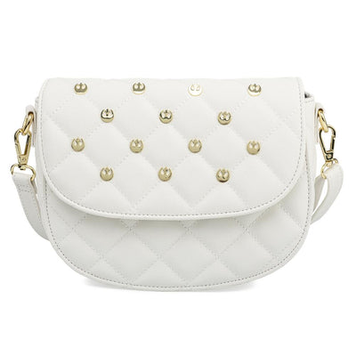 "Star Wars - White with Gold Rebel Hardware 9"" Faux Leather Saddle Crossbody Bag by Loungefly"