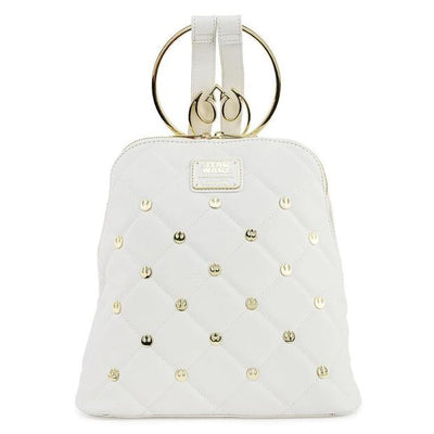 "Star Wars - White with Gold Rebel Hardware 11"" Faux Leather Mini Backpack"
