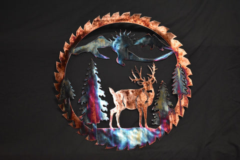 Metal wall art of copper plated whitetail buck inside a saw blade