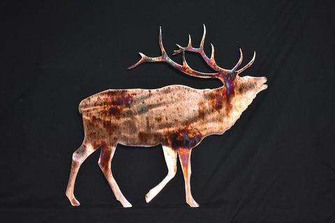 stunning wildlife metal decor of a bugling elk copper plated with torched accents