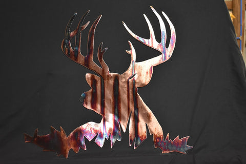 Beautiful copper plated metal art of whitetail buck with burnt blue streaks