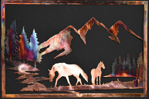 Horses in the mountains metal wall art