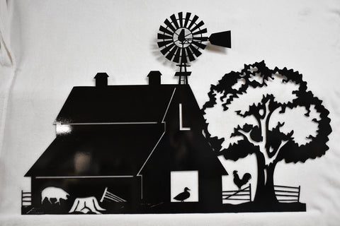 Metal decor of large barn farm scene