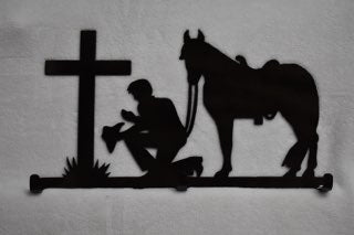 Praying cowboy key hanger metal wall art