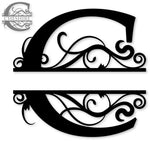 Split monogram C metal art
